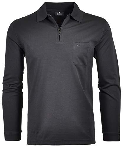 Ragman Herren Softknit-Poloshirt Langarm mit Zip 3XL Schwarz