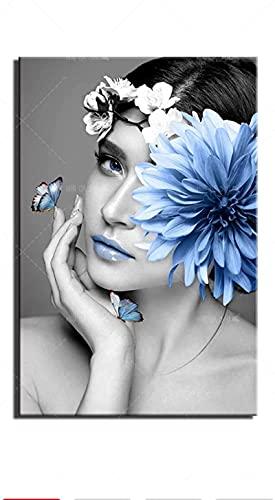 YHJK Póster Artístico Impreso en HD, Pintura en Lienzo, Mariposa Azul, Flor, Mujer, Cuadro de Pared, Sala de Estar nórdica, póster de decoración del hogar, 50x70cm, sin Marco