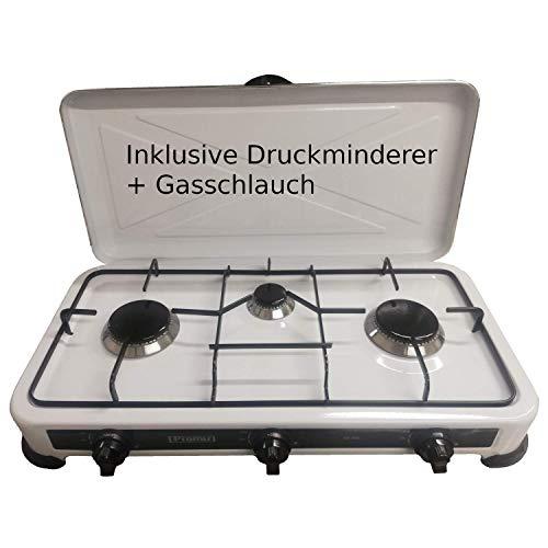 Hochwertiger 3 flammiger Camping Gaskocher Campingkocher / Lieferung inklusive 80cm Anschlussschlauch und Druckminderer!