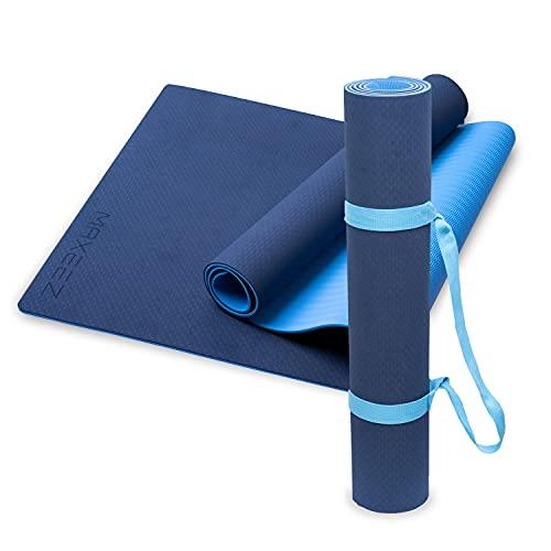 MAXEEZ® Yogamatte XXL blau | 80cm breit für mehr Sicherheit | Umweltfreundliche TPE sportmatte fitnessmatte rutschfest