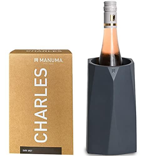 MANUMA® Design Weinkühler aus Beton - Premium Sektkühler hält Wein, Sekt und Champagner stundenlang kühl - Hochwertiger Flaschenkühler - (Eingetragenes Design) - Anthrazit