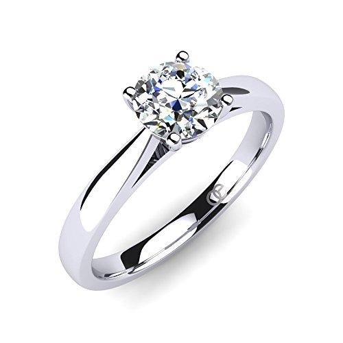 Moncoeur Ring Pour Toujours + Solitaire echtes 925 Silber Verlobungsring mit Zirkonia + SWAROVSKI + Hochzeitsring + Trauring + klassisches Design höchste Qualität für Damen Frauen Freundin (50 (15.9))