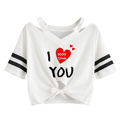 Andouy Damen I Love You 3000 Times Brief Gedruckt Einfache T-Shirt Tops(S(34).WeißA)