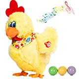 Plush Chicken Laying Eggs Toy Electric Stuffed Animal Crazy Chick Doll with Sound Music for Boys Girls