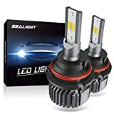 SEALIGHT 9007 HB5 LED Headlight Bulbs Fanless 6000K White High Low Beam CSP Chips Halogen Headlight Replacement 30W 5000Lumens