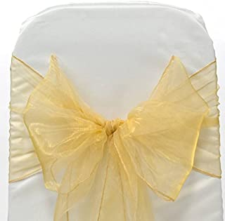 mds Pack of 100 Organza Chair Sashes Bow Sash for Wedding and Events Supplies Party Decoration Chair Cover sash -Gold