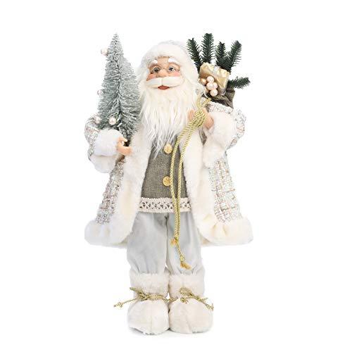 Yeeping Christmas Santa Figurine, Hand Crafted Santa Claus, 2020 Style, Santa Doll, Santa Decor, Santa Toy, Christmas Decoration, 18 Inch, White