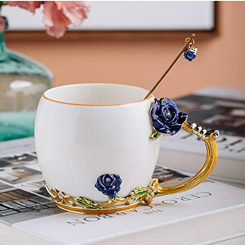 YIUN Flower Tea Cup, Kaffeetasse, Emaille Craft Ceramic Cup, Becher Cup, Emaille Cup mit Löffel, Travel Cup mit schönem Blumengriff, Blue Rose, 320ML.