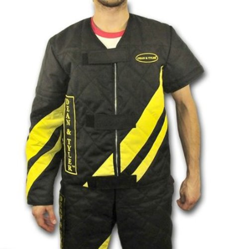 Dean & Tyler DT Scratch Jacket with Attachable Long Sleeve, Black/Yellow, Large (Size: 42-Inch)