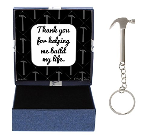 for Dad Thank You for Helping Me Build My Life Birthday Gifts for Dad Daughter Gifts Hammer Keychain & Gift Box Bundle