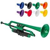 PTRUMPET 700628 Trompette avec embouchure et housse, Vert