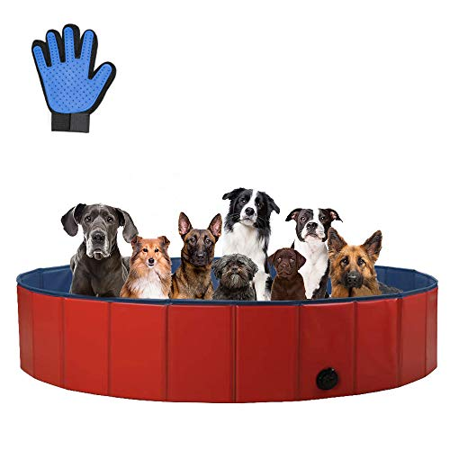 SURPCOS Foldable Dog Swimming Pool, New Upgraded Collapsible Pet Bath Pool for Dogs Cats and Children Indoor & Outdoor, Large 63''x12''