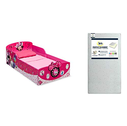 Delta Children Interactive Wood Toddler Bed, Disney Minnie Mouse + Serta Perfect Slumber Dual Sided Recycled Fiber Core Toddler Mattress (Bundle)