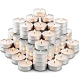MontoPack Unscented Tea Lights Candles in Bulk | 100 White, Smokeless, Dripless & Long Lasting Paraffin Tea Candles | Small Votive Mini Tealight Candles for Home, Pool, Shabbat, Weddings & Emergencies