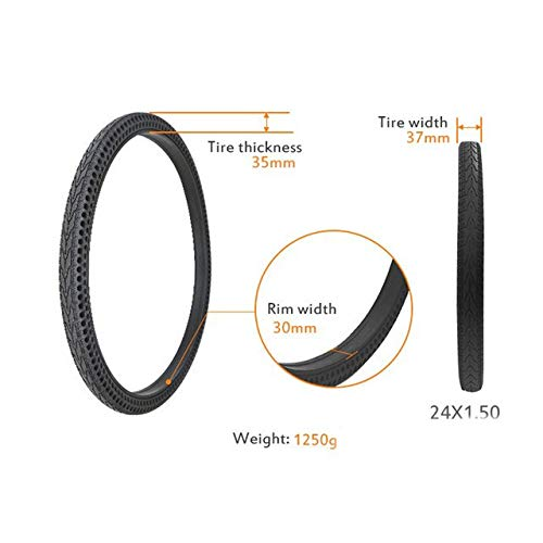 BFFDD 26/24/22/20/16/12/10/8.5/8/6.5 in Perforated Shock Absorbing Bicycle Tire Explosion-Proof Free Inflatable Road Bike Solid Tyre (Color : 24x1.50)