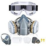 Reusable Half Face Cover, NASUM 720 Face Cover with Safety Glasses Half Facepiece Against Organic Vapors/Smells/Asbestos, Ideal for Painting, Polishing, Woodworking, Welding, Decoration