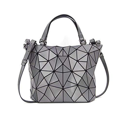 Kbinter Geometric Luminous Purses and Handbags Shard Lattice Eco-Friendly Artificial Leather Rainbow Holographic Purse, Silver, Large