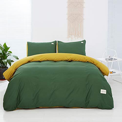 AUTOOK Bettbezug-Set, Bettbezug mit Reißverschluss Modern Queen J-grün+gelb