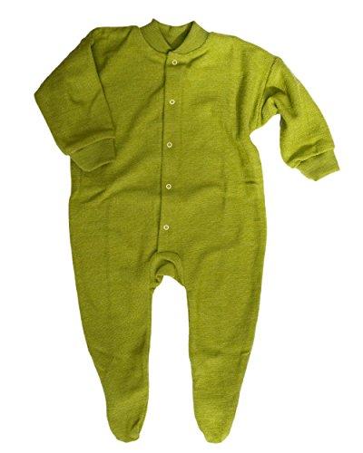 Cosilana, Schlafanzug/Strampler mit Fuß, 100% Wolle (kbT) (56, Kiwi-grün)