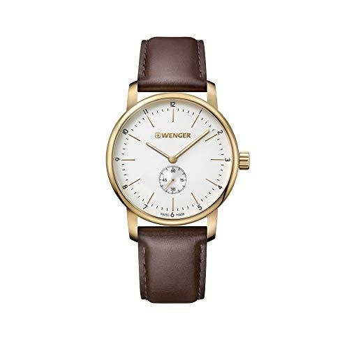 Wenger Hombre Urban Classic - Reloj de Acero Inoxidable/Cuero de Cuarzo analógico de fabricación Suiza 01.1741.124