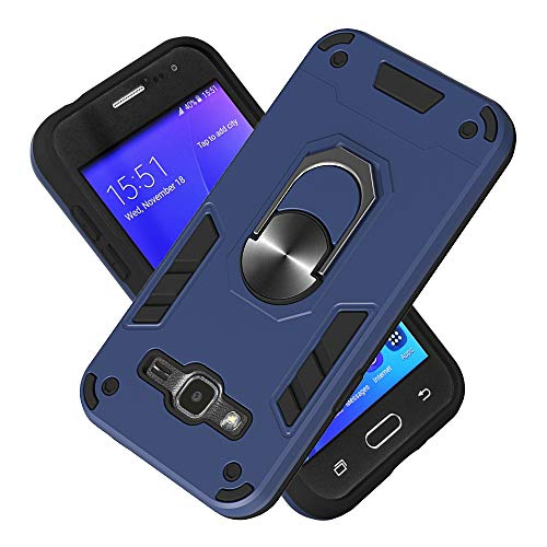 Armure Coque Samsung Galaxy J2 (2016)/J210, Boîtier PC + TPU Double Layer Housse résistant aux Chocs avec Support à Anneau Rotatif à 360 degrés (Bleu Royal)