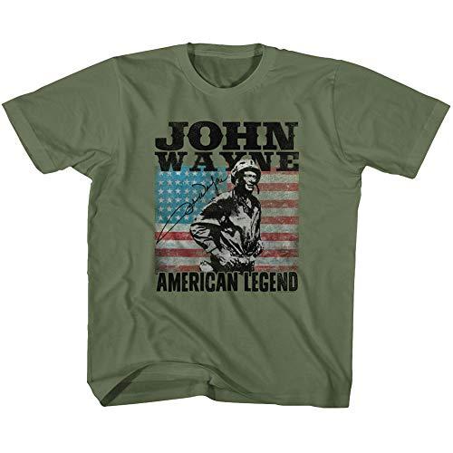 John Wayne American Legend Hollywood Icon Actor Playera con Bandera de Estados Unidos para niños - Verde - 24 Meses