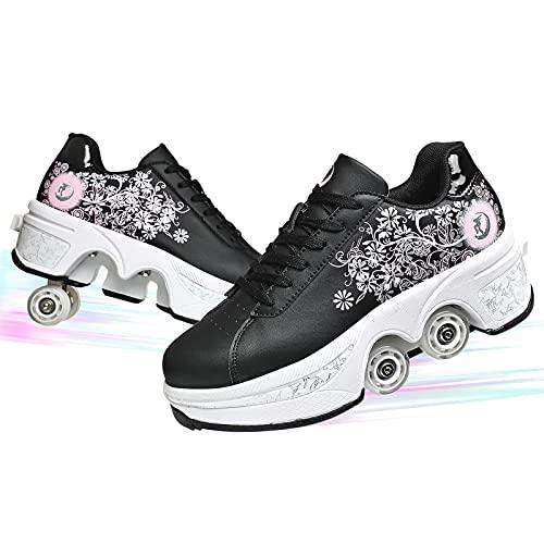 Patinaje Al Aire Libre Calzado para Caminar Patines En Línea Zapatos De Deformación Multifuncionales En Quad Multipropósito 2 En 1 sobre Ruedas