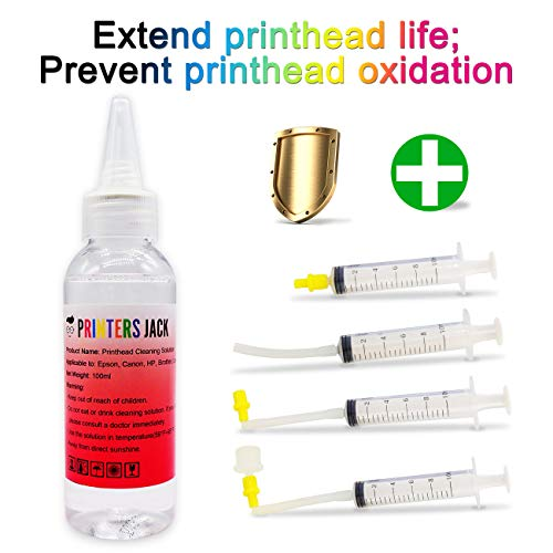 Printhead Cleaner for Inkjet Printers Brother HP Officejet 8600 5520 4620 6520 6600 6700 6968 6978 8610 Canon 922 Pro 100 MX922, Liquid Printers Head Cleaning Kit Solution 100ml / 3.4oz