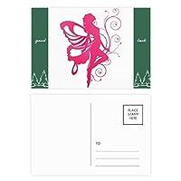 かなりピンクの翼の天使と蝶 グッドラック・ポストカードセットのカードを郵送側20個