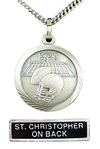 Nickel Silver Patron Saint Christopher Football Medal Pendant, 7/8 Inch