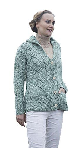 Carraig Donn Damen geknöpfte verkabelte Strickjacke (Meeresschaumgrün, L)