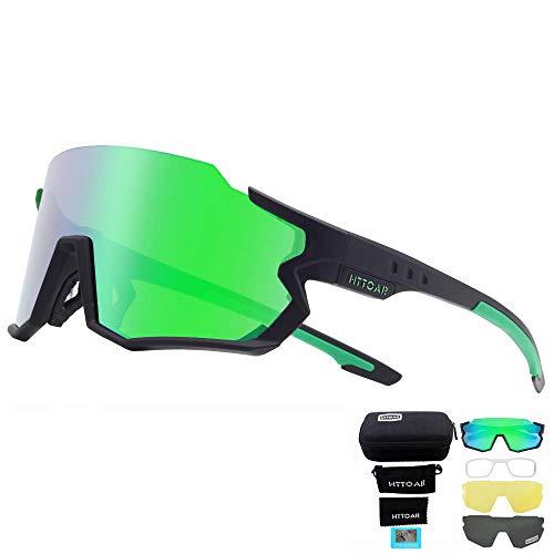 HTTOAR Polarisierte Fahrradbrille ,Herren und Damen Sportbrille Laufen Angeln Golf TR90 Rahmen UV400 Schutz (Schwarz grün)