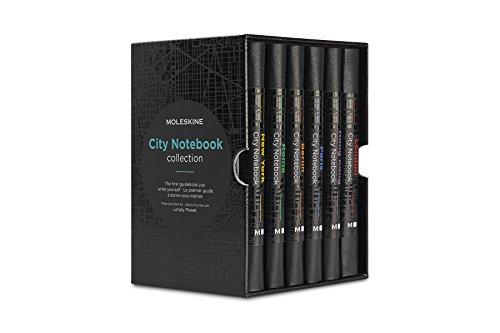 Moleskine City Notebook Collector Box (mit weißen und linierten Seiten, Notizbuch mit Hardcover, elastischem Verschluss und Stadtplänen, Größe 9 x 14 cm, 220 Seiten) schwarz