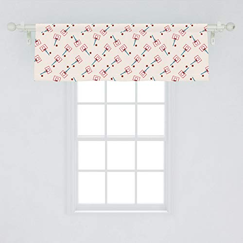 Ambesonne Basketball Window Valance, School Basketball Court Cartoon Style Collage Competition Sports, Curtain Valance for Kitchen Bedroom Decor with Rod Pocket, 54' X 18', Vermilion Brown