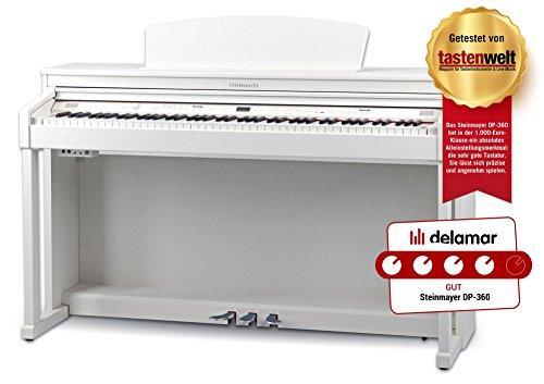 Steinmayer DP-360 WM Digitalpiano (88 Tasten, weiße Tasten aus Echtholz, Hammergewichtung, Triple-Sensor-System, max. Polyphonie: 256, 3 Pedale plus Halbpedal-Funktion) weiß matt
