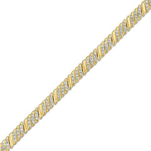 SLV Pulsera de eslabones inclinados de diamante de corte redondo D/VVS1 de 1 quilates para mujer en plata 925 chapada en oro amarillo de 10 quilates