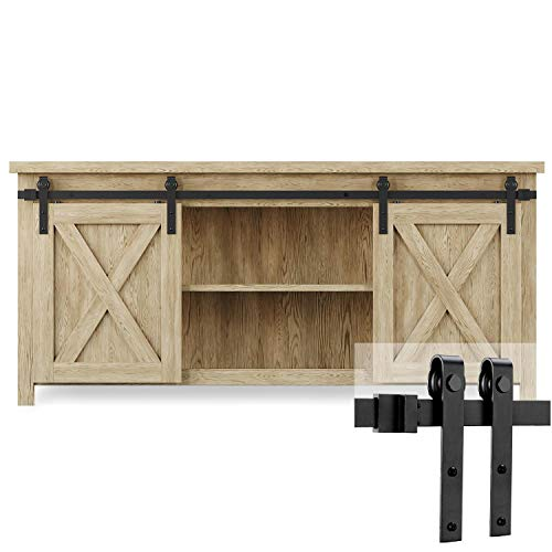 EaseLife 5 FT Cabinet Mini Double Door Sliding Barn Door Hardware Track -