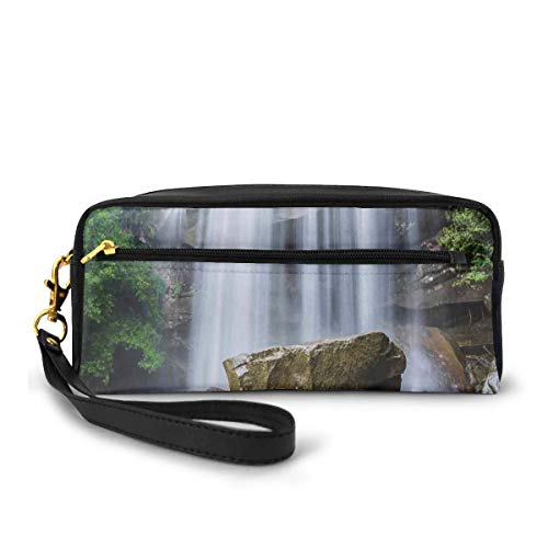 Pencil Case Pen Bag Pouch Stationary,Waterfalls Surrounded by Rocks and Tropical Exotic Plant Nature Art,Small Makeup Bag Coin Purse