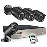 ZOSI Security Cameras System 8Channel 4-in-1 1080N CCTV DVR Recorder with 1TB...