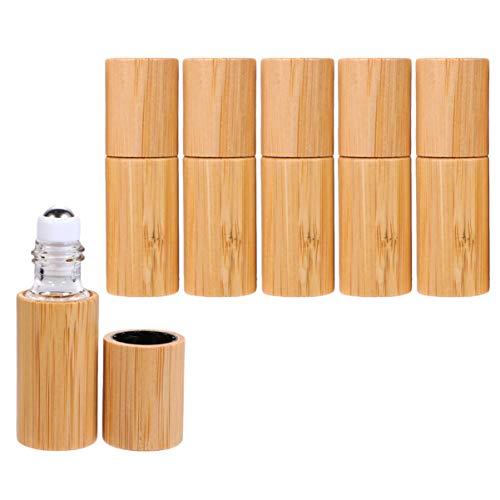 Healifty Ätherisches Öl Roller Flaschen Bambus Parfüm Flaschen für Outdoor Und Reise 6 Stücke (5 Ml)