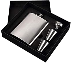 Portable Stainless Steel 7 oz Pocket Hip Flask Alcohol Whiskey Liquor Screw Cap with Funnel Portable Flagon Bottle and Funnel Set Gift for Men