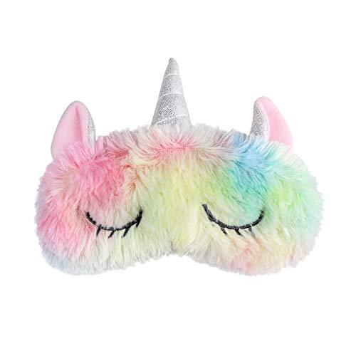 frcolor Unicorno Maschera di sonno Mignon Unicorno Corno in peluche fascia Occhi copertina per donne ragazze bambini casa letto Voyager Volo di auto campeggio utilizzare
