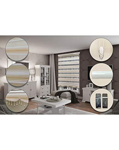 Pearl Carpet Estor doble con diseño de cebra, con casete, de aluminio, 100 x 200 cm, color gris