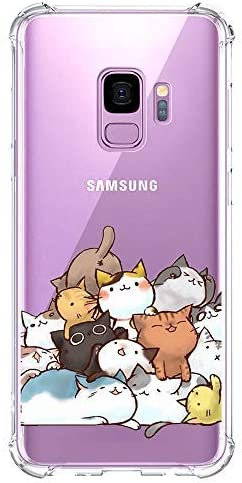 Galaxy S9 Case Ultra Crystal Clear with Cute Cat Design Shockproof Bumper Protective Cell Phone Back Cover for Samsung Galaxy S9 5.8 Inch Funny Kitty Flexible Slim Fit Rubber Silicone Case Boy Girl