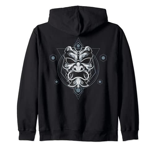 Oni Mask Japanese Devil Yokai Demon Sagrado Geometría Gráfico Sudadera con Capucha