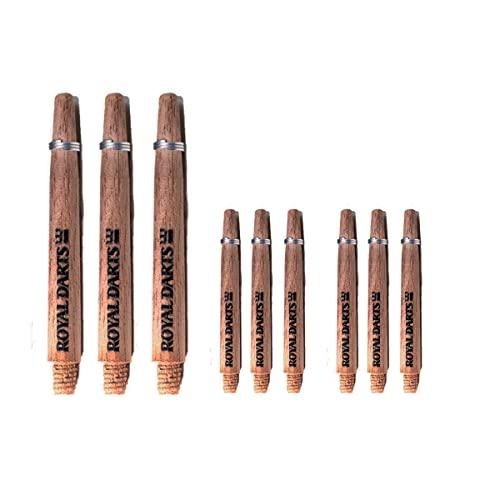 Royal Darts Dartschäfte aus Holz Green Line | Darts Schäfte Nussbaum oder Walnuss | 9 Darts Shafts insgesamt (Nussbaum, Short)