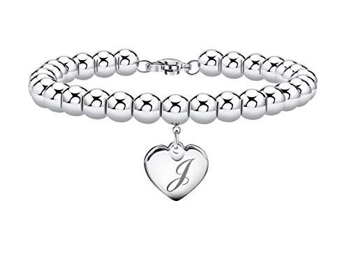 Initial Bracelet for Girl Heart Tag Bead Bracelet Letter J Bracelets Birthday Gifts