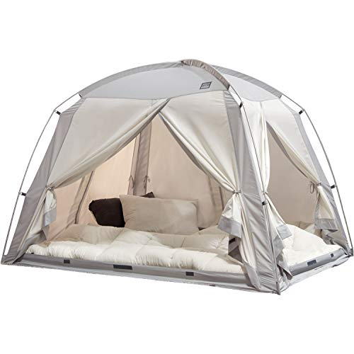 DDASUMI Signature 4Door Indoor Bed Tent, Privacy Play Tent on Bed for Warm and Cozy Dream Sleep Tent, Floorless Type Tent.Cotton Feeling Tent,S-PE Pole, Washable Tents (Gray, Queen/Full)