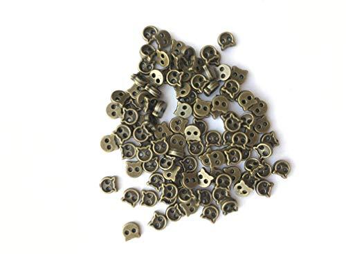 ブロンズ色 ネコ極小ボタン 80個 極小 小さめ ハンドメイドデコ材料 ドール用 人形用 ミニチュア用
