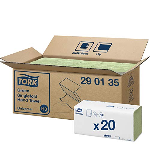 Tork 290135 Universal Handtucher, Zickzackfalz, 25 cm x 23 cm, Grün (4000-er pack)